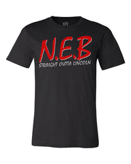 1 LEFT! N.E.B. Straight Outta Lincoln Tee by RZR - Black - SS