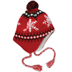 Youth Snowflake Knit Hat w/ Pom