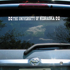 White University of Nebraska N Huskers 2 x 19 inch Window Decal