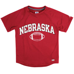 Youth Nebraska Football Performance Tee by Russell - Red - SS