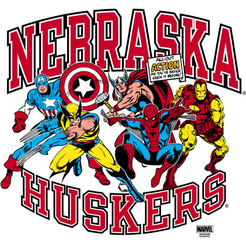 Marvel / Nebraska Action Tee - White - SS