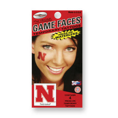 Nebraska Huskers Game Face Temporary Tattoo