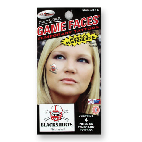 Nebraska Blackshirts Game Day Gear Temporary Face Tattoos