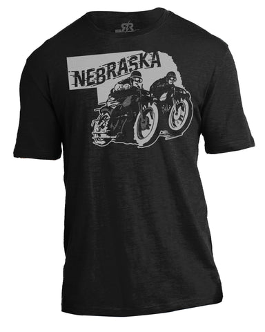 Retro Racer Nebraska Motorcycle Slub Tee by RZR - SS - Black