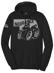 Retro Racer Nebraska Motorcycle Hoodie by RZR - LS - Black