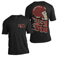 Nebraska Motorcycle Ride or Die Slub Tee by RZR - SS - Black