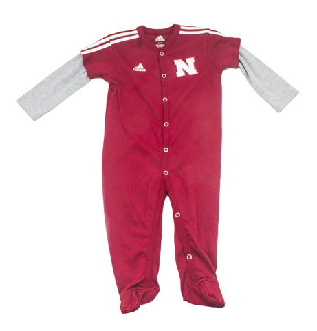Nebraska Footed Player Coverall by Adidas - LS - Red