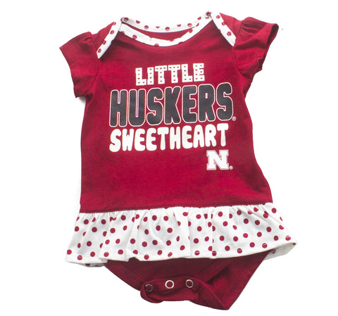 Nebraska Husker Little Sweetheart Creeper, Bib & Bootie Set