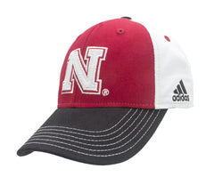 Nebraska Huskers Color Block Adjustable Hat by Adidas - Red