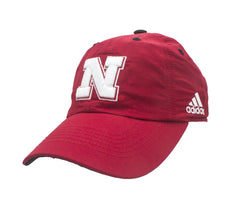 Youth Nebraska Huskers Structured Adjustable Hat by Adidas - Red
