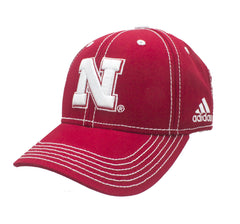 2016 Youth Nebraska Sideline Slouch Adjustable Hat by Adidas - Red