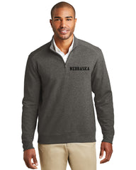 Men's Nebraska Interlock 1/4 Zip by RZR - Charcoal - LS