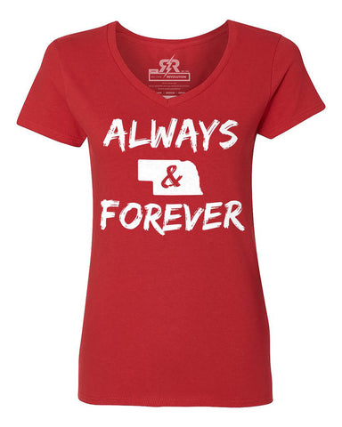 Nebraska Always & Forever V-Neck Tee - Red - SS