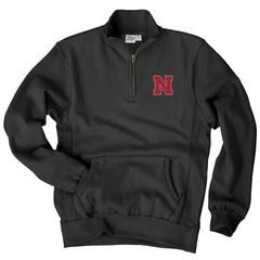 Men's Nebraska Sanded Fleece 1/4 Zip Cadet Sweatshirt-Black