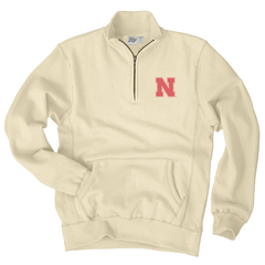 Men's Nebraska Sanded Fleece 1/4 Zip Cadet Sweatshirt-Bone