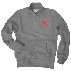 Men's Nebraska Sanded Fleece 1/4 Zip Cadet Sweatshirt-Gunmetal