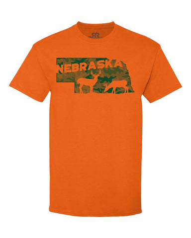Nebraska Deer Hunting Tee - Orange - SS