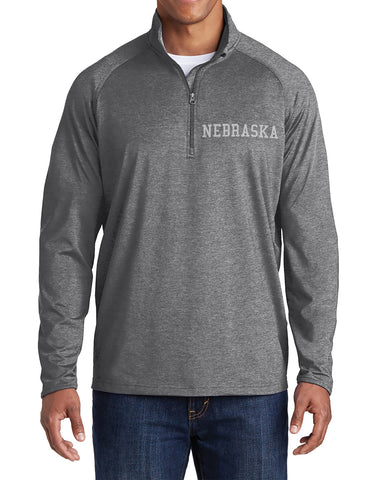 Nebraska Stretch 1/2 Zip Sport-Wick Pullover by RZR - Grey - LS