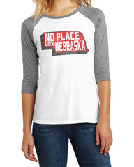 No Place Like Nebraska Raglan Tee by RZR - White