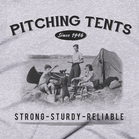 Men's Pitching Tents Cotton Tee-Grey Detail