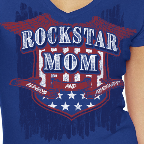 Women's V-Neck Rockstar Mom Tee-Royal