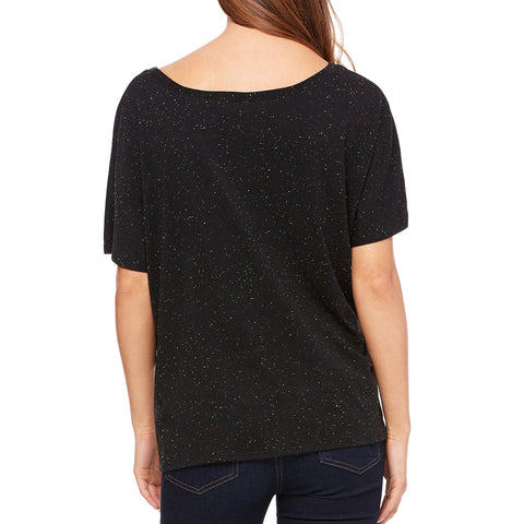 Women's Black Speckled Rockstar Mom Tee-Black