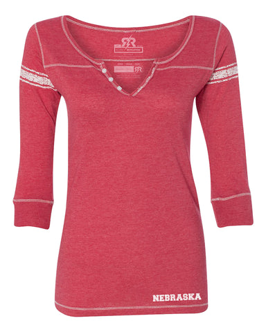 V-Henley Jersey Tee by RZR - Red - LS