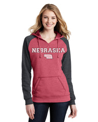 Campus Raglan Hoody Raglan Hoody by RZR - Red - LS