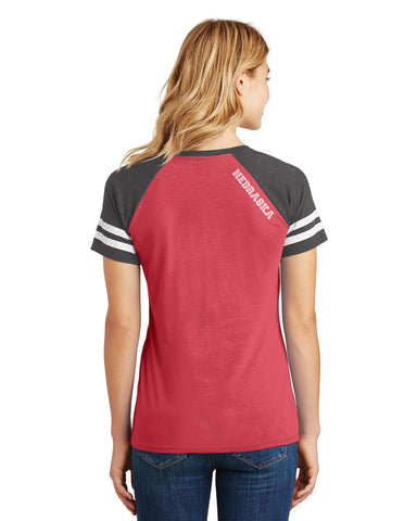1 LEFT! Women's Varsity Girl Striped Top by RZR - SS - Red
