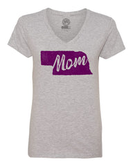 1 LEFT! Women's Nebraska Mom V-Neck Tee By RZR - SS - Heather Grey