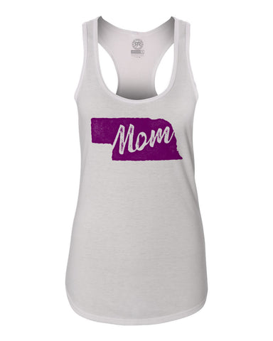 Women's Nebraska Mom Racerback Tank By RZR - White