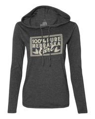 100% Nebraska Girl Hoody Tee by RZR - LS - Grey
