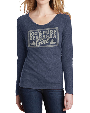 100% Nebraska Girl Long Sleeve Thermal Tee by RZR - LS - Navy