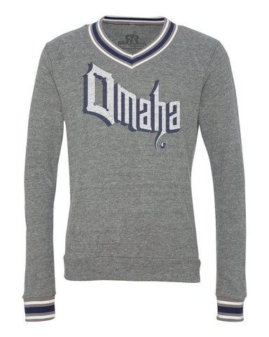 Men's Retro Omaha Tri-Blend Sweater by RZR - Grey - LS