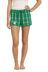 Women's Kelly Green Nebraska Flannel Boxers - Plaid