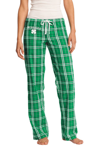 Women's Kelly Green Nebraska Flannel Pants - Plaid