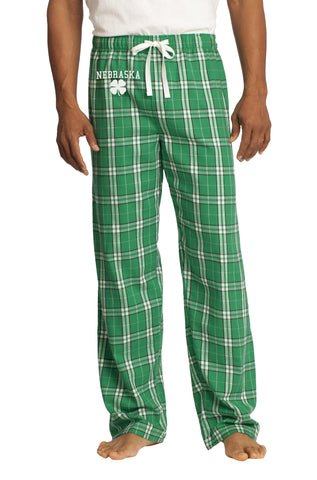 Men's Kelly Green Flannel Pants - Plaid