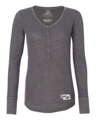 Ladies Good Life Thermal Henley by RZR - LS -  Charcoal
