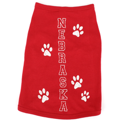 Nebraska Paw Prints Doggie Tank-Red