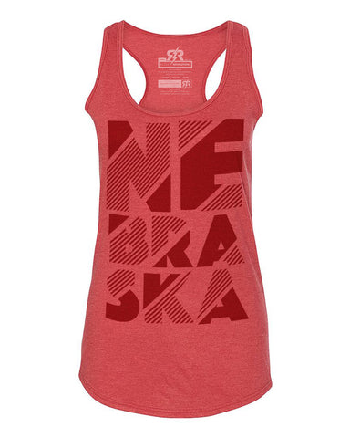 Stacked Nebraska - Tank - Red