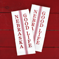 Nebraska Good Life Screen Printed Kitchen Towel-2 Pack