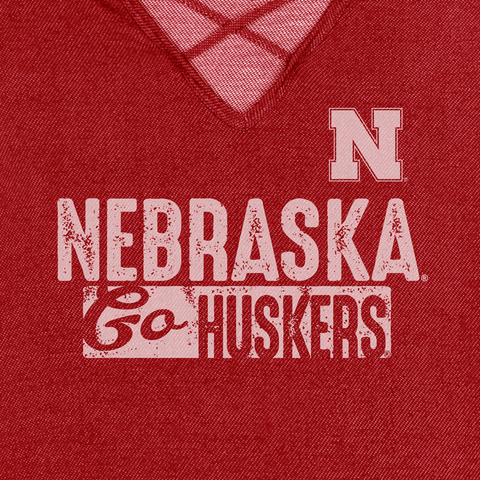 Women's Nebraska Go Huskers Strappy V-Neck Top-Red Detail
