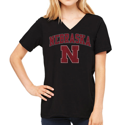 Soft Cotton Nebraska Huskers Womens V-neck Tee