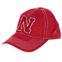 Nebraska Garment Washed Slouch Flex Hat by Adidas - Red