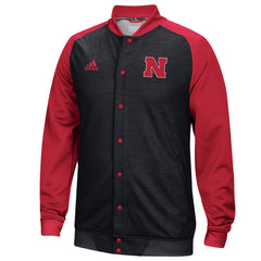 Nebraska Huskers Player Warm Up Jacket by Adidas - LS - Black