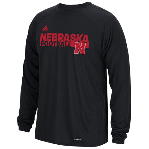 Nebraska Huskers Sideline Grind Football Crew by Adidas - Black - LS
