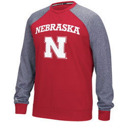 Nebraska Ultimate Raglan Fleece Crew by Adidas - LS - Red