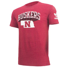 State of Huskers Tri-Blend Tee by Adidas - red - SS