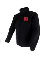 Nebraska Performance 1/4 Zip Jacket - Black - LS