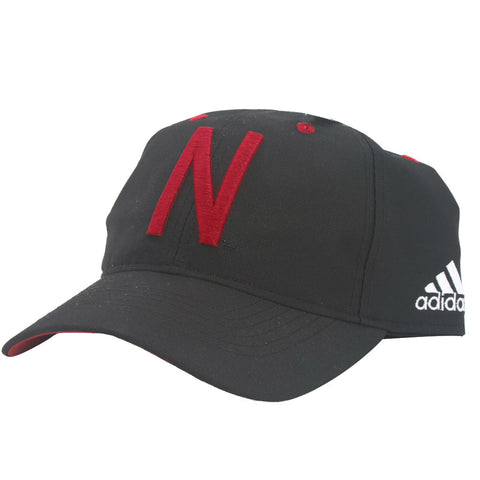 2016 Nebraska Football Coaches Adjustable Slouch Hat by Adidas - Black